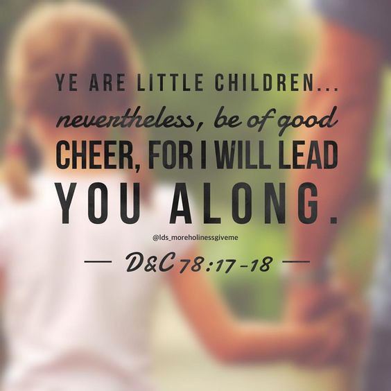be of good cheer father leading child i am a child of god