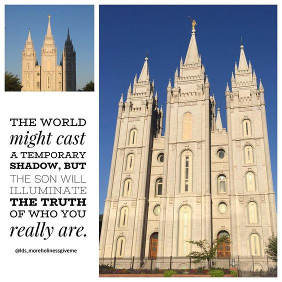 The world might cast a temporary shadow, but the sun (Son) will illuminate the truth of who you really are. Salt Lake temple shadow LDS object lesson YW YM youth