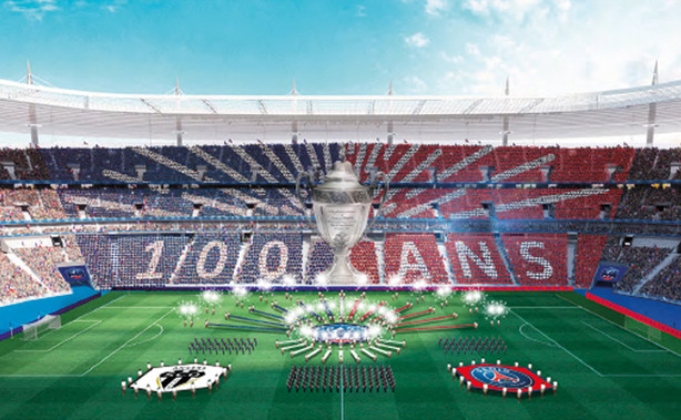 Cérémonie d'ouverture finale de la coupe de france de football. 2012, 2014 à 2018