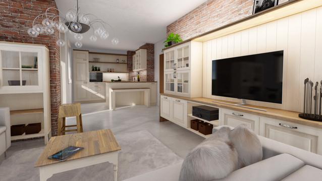 návrh interiéru - obývacia izba, kuchyňa