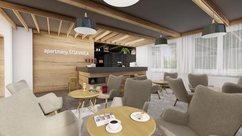 návrh interiéru - bar/recepcia - apartmanový dom Štiavnica