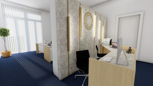 návrh interiéru advokátskej kanc. - recepcia a kancelária
