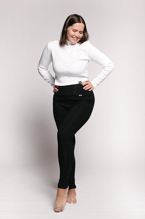RIB bio cotton leggings /BLACK