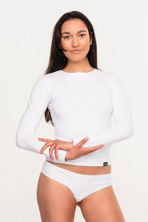 Organic cotton dipped hem long sleeve top / WHITE