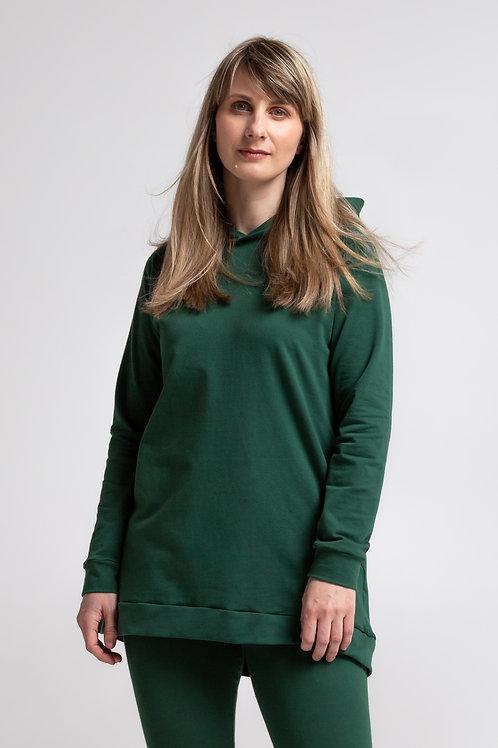 Organic cotton sweatshirt dress / OLIVE GREEN