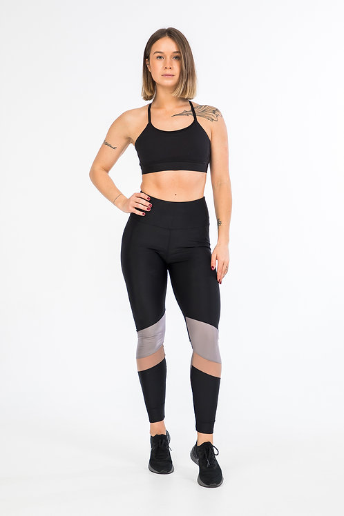 Color block workout tights in black with mesh detail