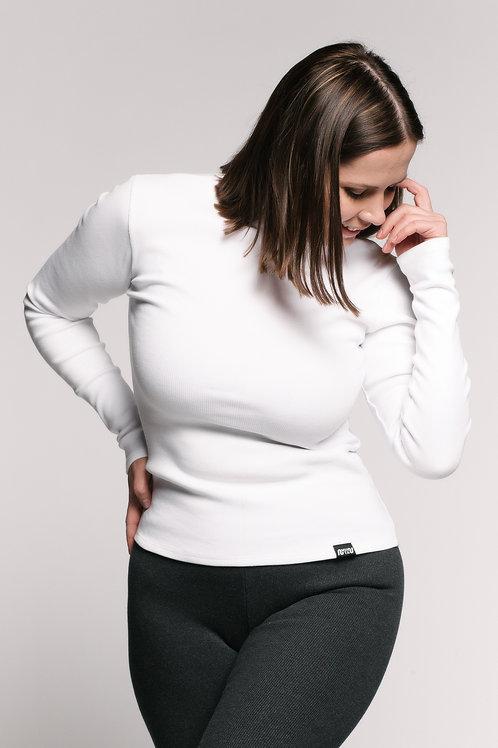 RIB bio cotton long top / WHITE