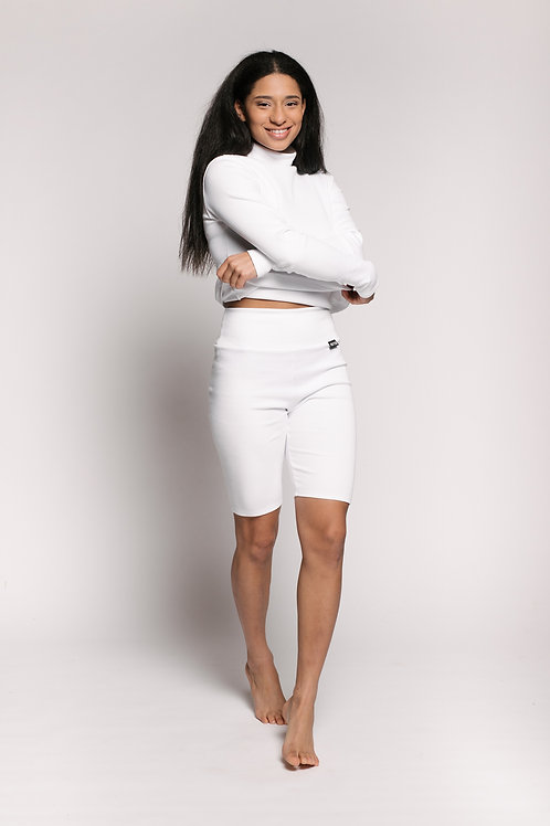 RIB bio cotton shorts / WHITE