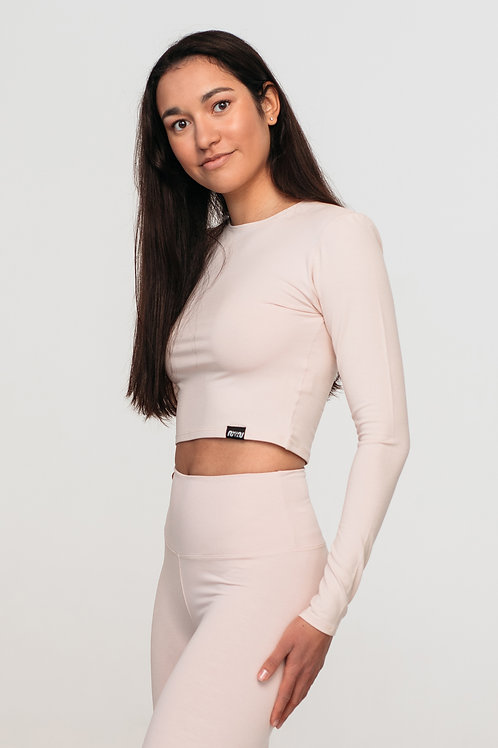 Organic cotton cropped long sleeve top / NUDE, WHITE or BLACK