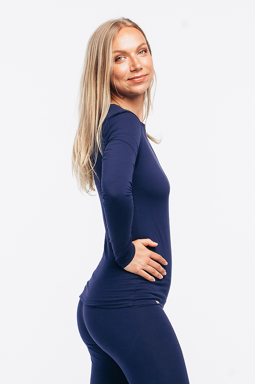 NAVY BLUE / dipped hem long sleeve top