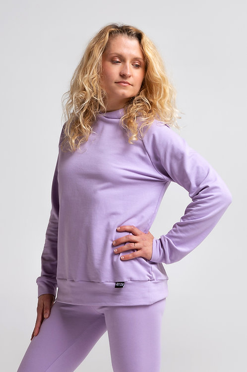 Organic cotton pullover sweatshirt / LILAC