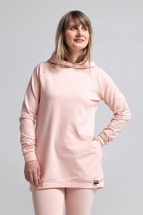 Organic cotton sweatshirt dress / POWDER PINK