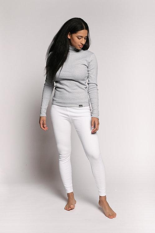 RIB bio cotton leggings / WHITE