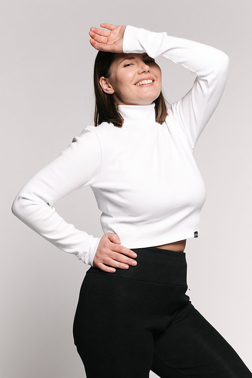 RIB bio cotton crop top / WHITE
