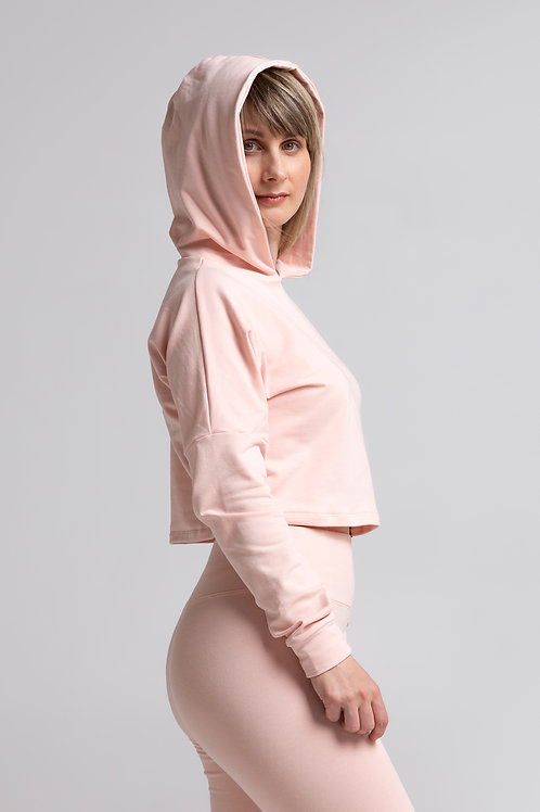 Organic cotton crop sweatshirt / POWDER PINK