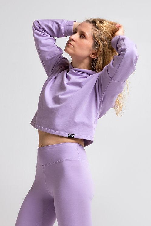 Organic cotton crop sweatshirt / LILAC