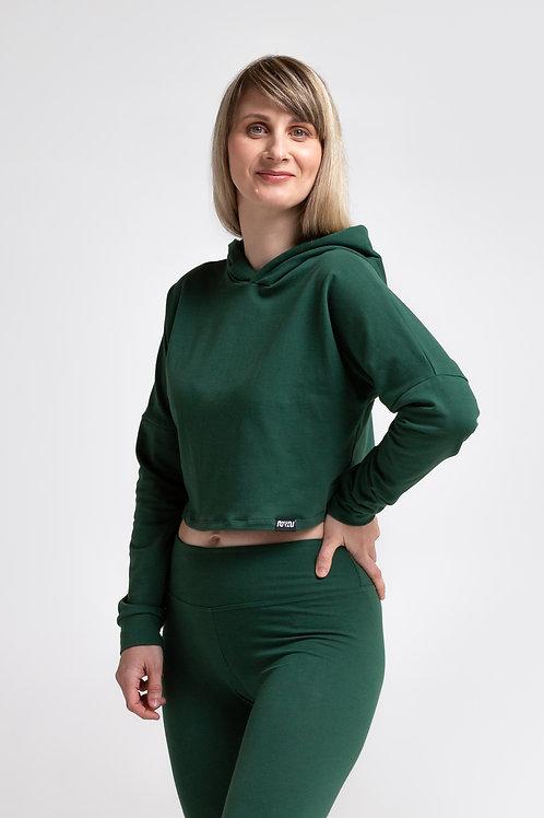Organic cotton crop sweatshirt / OLIVE GREEN