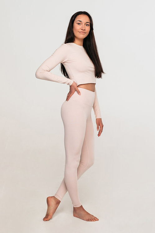 Organic cotton high waisted leggings / NUDE