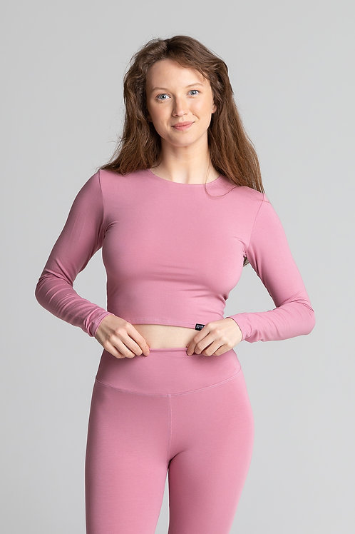 PINK cropped long sleeve top