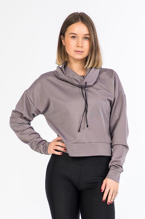 High collar crop sweater / Grey
