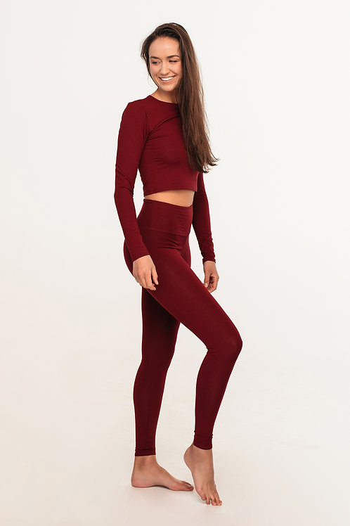 Organic cotton high waisted leggings / BURGUNDY