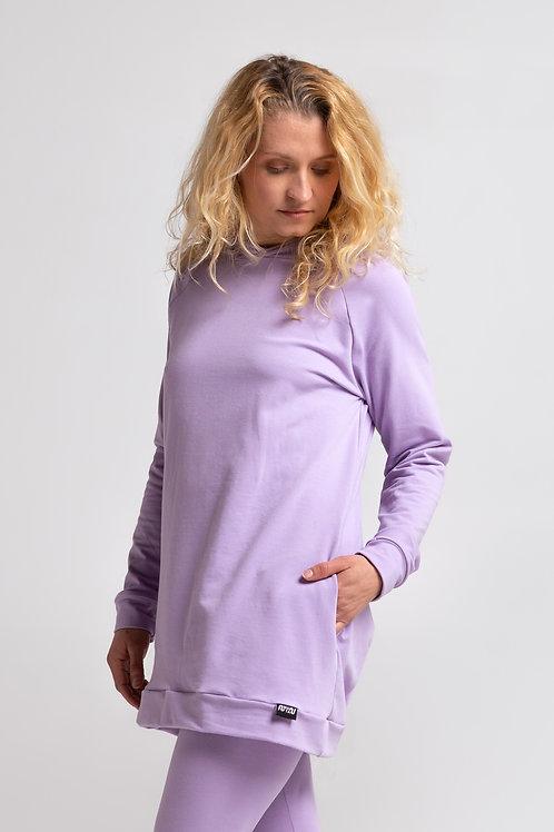 Organic cotton sweatshirt dress / LILAC