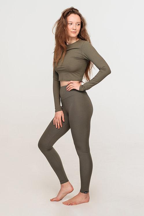 Organic cotton high waisted leggings / KHAKI