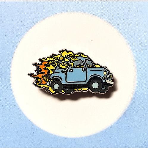 Burning Car Pin
