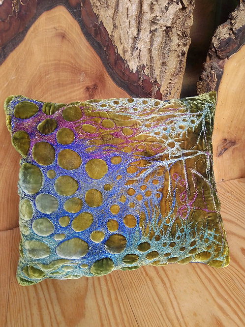 Olive greens/blue scatter pillow