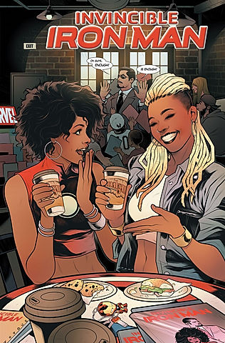 Ariell, Amalgam's owner, featured on the cover of Invincible Iron Man