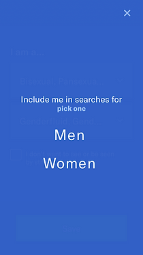 """Required for users to identify as a """"Men or Women."""""""
