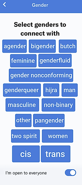 Proposed Gender Selecton Screen allows users to select multiple genders