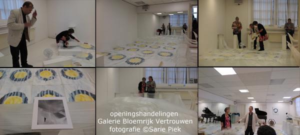 openingshandelingen door Henk Puts en Walburgis Meijers van installatie in Galerie Bloemrijk Vertrouwen te Aldtsjerk, fotografie ©Sari Piek