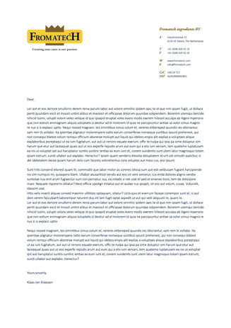 Front side corporate letter Fromatech