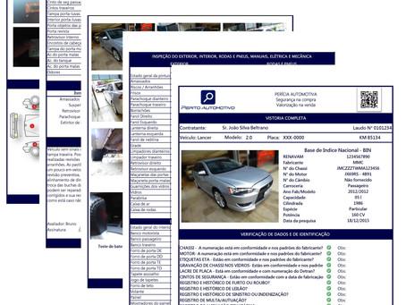 Laudo de vistoria veicular. Avaliação profissional para compra de carros usados.