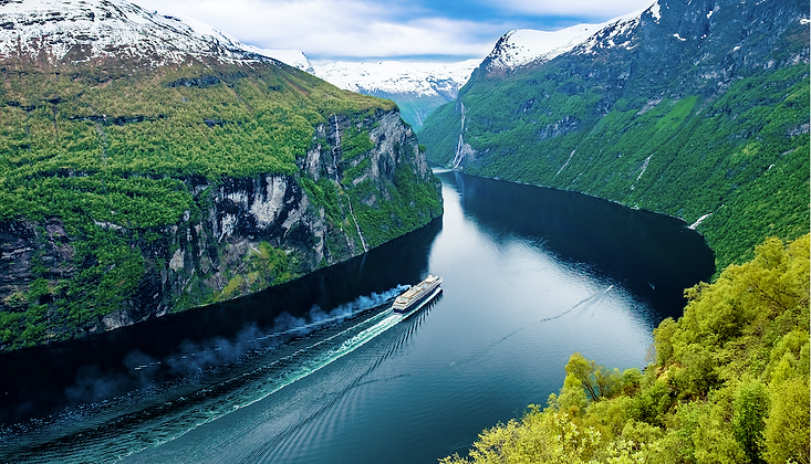 Banner image of Norwegian fjord with cruise vessel sailing