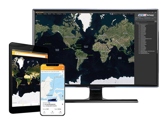 NavTracker illustration with screenshots on several devices