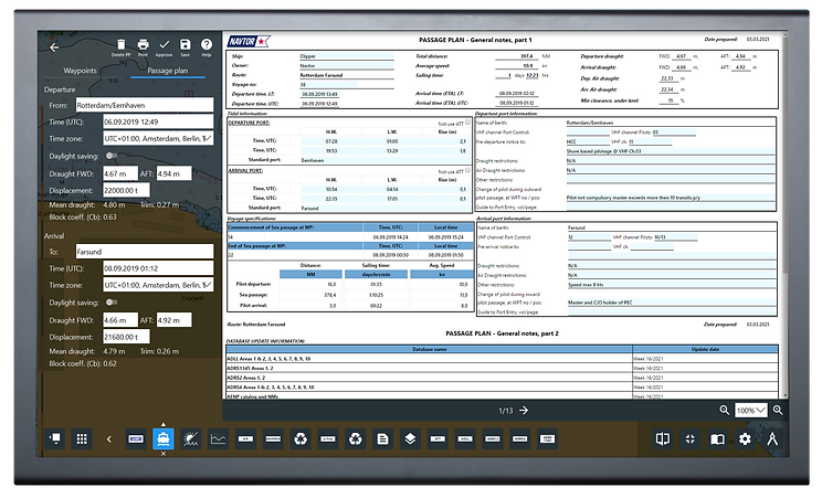 Screenshot of NAVTOR Passage Planning module