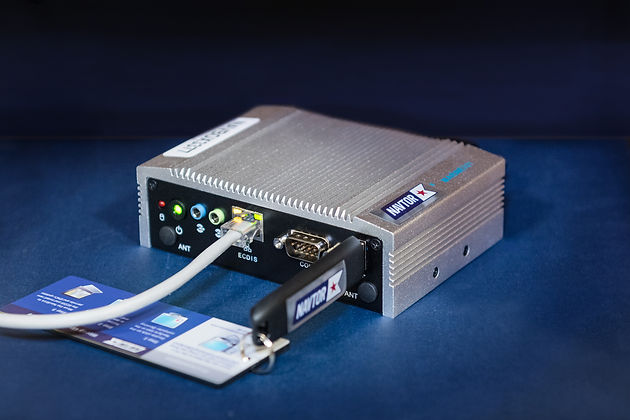Product image of NavBox connected to network cable and NavStick
