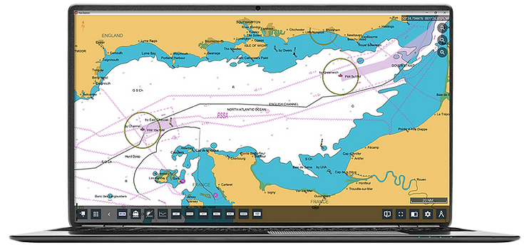 illustration of ADMIRALTY Vector Chart Service (AVCS) layer in NavStation on computer isolated
