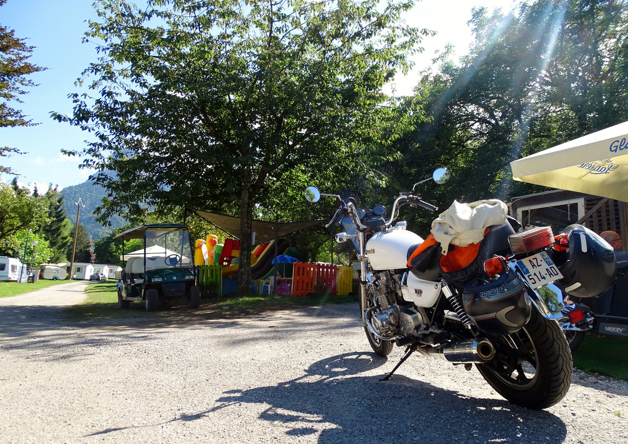 bikers at the campsite