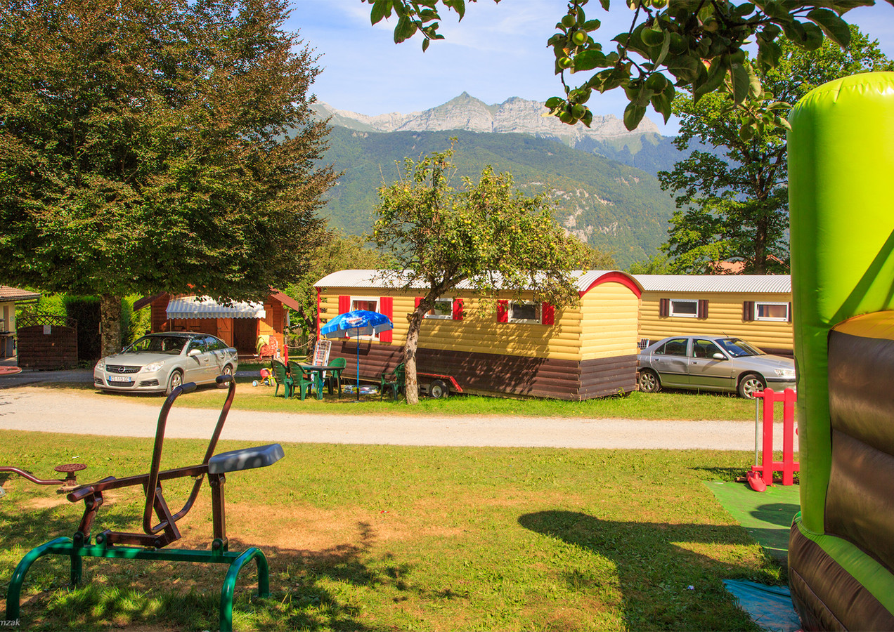 Gypsy caravans with view on the mountains