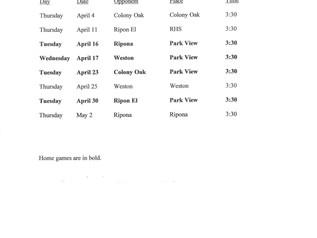 Girls' Soccer Schedule