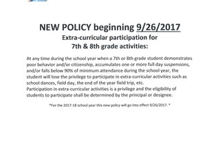 7th/8th Grade Extra-Curricular Participation Policy