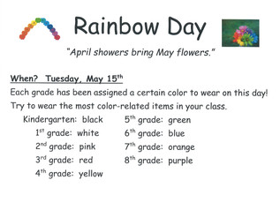 Rainbow Dress Up Day - 5/15/18