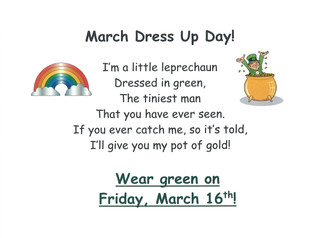 March Dress Up Day - Friday, March 16th