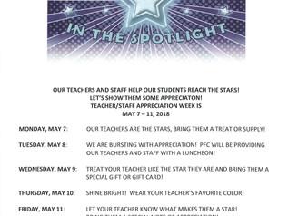 Teacher Appreciation 5/7 - 5/11/18