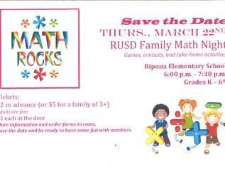 RUSD Family Math Night @ Ripona - 3/22/18