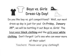 Boys vs. Girls Dress Up Day - 1/25/19