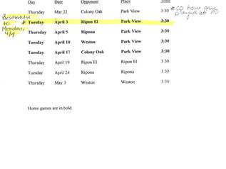 Girls Soccer Game Schedule